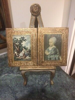 2 Vtg Italian Art Florentine Wood Wall Plaque/Hanging  Made in Italy Toleware
