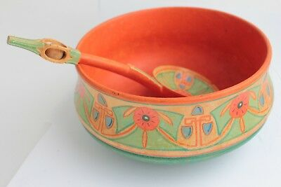 Set Swedish Vintage folk wooden hand carved traditional spoon & Bowl handpainted