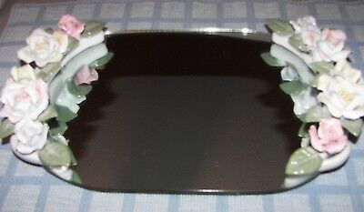 Vintage Vanity Mirror Tray Oval Shaped With Delicately Raised Porcelain Roses