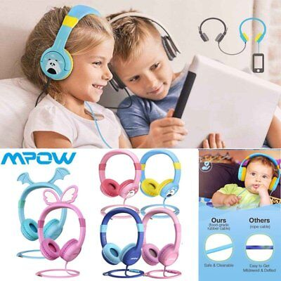 Mpow 85db Safe Kids Child Over-Ear DJ Headphones Wired Headset Earbuds Xmas Gift