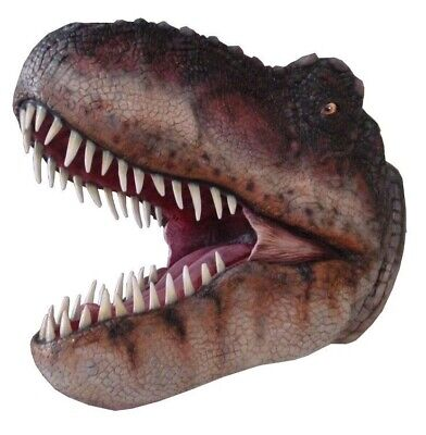 T-Rex Dinosaur Head Wall Display Prop Resin Statue Mouth Open Jurassic Dino