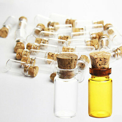 Clear Mini Bottles Small Cork Stopper 10/50/100PCS 1ml Glass Vial Jars Container