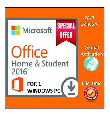 Microsoft Office 2016 Home and Student Windows 1 User Retail Product Key Digital