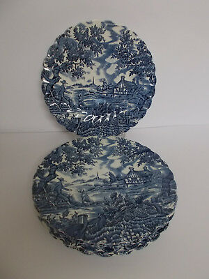 6 x Myott The Hunter Side Plates 17.4cm Vintage Blue and White Lovely