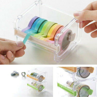 Desktop Tape Dispenser Cutter Cutting Tapes Roll Storage Case Box Holder