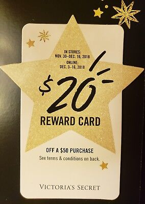 Victoria's Secret VS $20 Off $50 Holiday Reward Card | Online ONLY