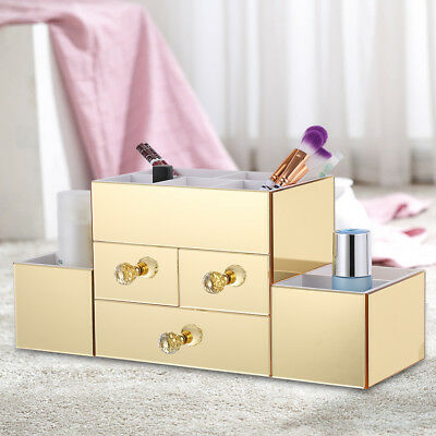 Holder Makeup Stand Drawers Mirrored Cosmetic Organizer Lipstick Storage Box US