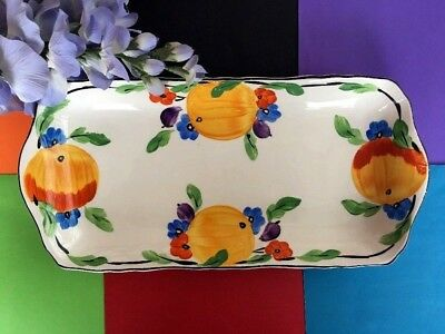 "Art Deco / Vintage c 1937 Hancocks ""Ivory Ware"" Hand Painted Fruit Sandwich Tray"