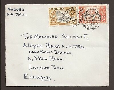"""Nigeria 1955 Forces Airmail cover. """"Bird"""" insignia on back"""