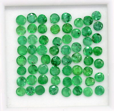 0.78 Cts Natural Emerald Round Cut 2 mm Lot 17 Pcs Lustrous Green Loose Gemstone