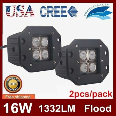 2X 16W Cree LED Work Light Square Flush Mount Flood Beam Off Road Fog Jeep truck