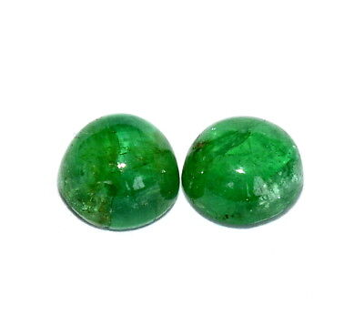Certified Natural Emerald Round Cabochon Pair 4.50 mm 0.84 Cts Loose Gemstones