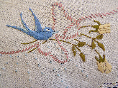BLUEBIRDS & BOWS Large Doily Hand Embroidered Table Centre VINTAGE