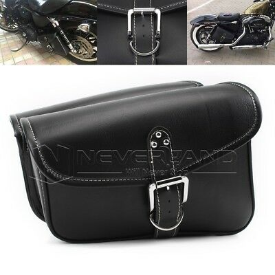 Pair Motorcycle Black Saddlebag Luggage Bag PU Leather Left&Right Fit For Harley