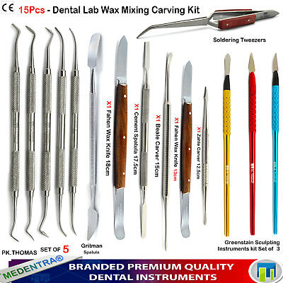 Dental Technician Dentist Wax Laboratory Sculpturing Mixing Carvers Knives 15pcs