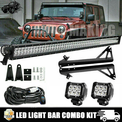 "52"" 1080W LED Light Bar+ 4"" 72W Pods+ Brackets Fit 07-17 Jeep Wangler JK 52Inch"