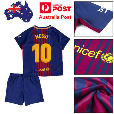 2018 MESSI Football Soccer Kits Kids Boy Youth Team Suit Jersey Short Sleeves AU