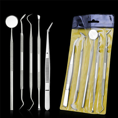 5Pcs Handle Stainless Steel Dental Tool Pick Pic Scaler Set Teeth Cleaning Tooth