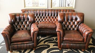 Divine Vintage 3 Piece Cigar Chesterfield Sofa Lounge Suite Armchair Tub Chairs
