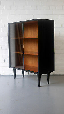 Pretty and petite 60's ebonised bookcase mahogany interior G-Plan Heals Teak