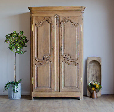 French Antique 18C Carved Light Oak Knockdown Armoire Wardrobe with Hanging Rail