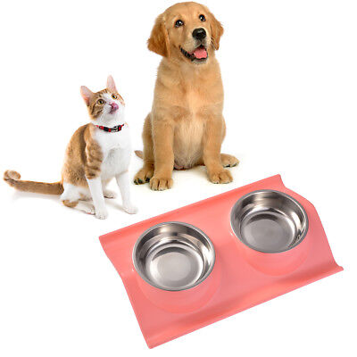 Non-Slip Pet Dog Puppy Cat Food Feeding Dish Feeder Stainless Steel Bowls PS237