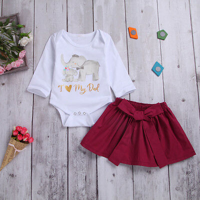 Baby Girl Toddler Elephant Romper + Plain Bowknot Skirt Newborn Outfit Clothes