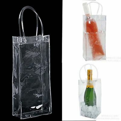 Chill Bag Clear Ice Tote Bag Wine Bottle Cooler Champagne Chiller Gel Carrier