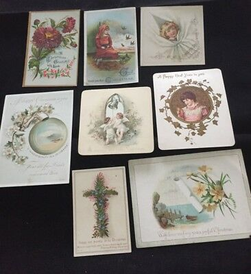 8 victorian christmas new year cards c18801890s floral religious