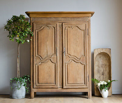 French Antique Late 18C Country Oak Knockdown Armoire Wardrobe with Hanging Rail
