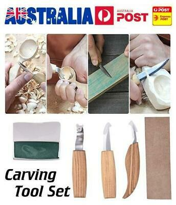 Spoon Carving Cutter Woodcarving Crooked Cutter Hooked Tool Polishing Wax Set AU