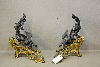 PAIR antique French bronze fireplace andirons Dragon gothic castle putti rare