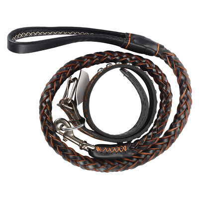 Adjustable Collar Braided Leather Dog Leash Strong Pet Lead for Training PS207