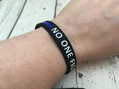No One Fight Alone Wristband Cancer Awareness Silicone Band Bracelet 202mm SALE