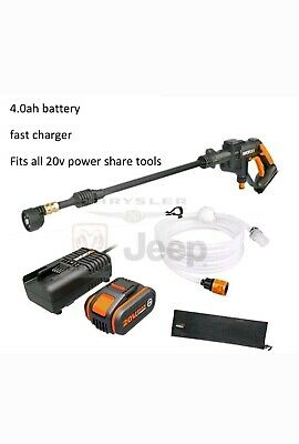 Worx Cordless WG629E 20V Hydroshot Pressure Washer 4.0ah battery & fast charger