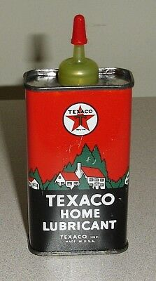 NOS Vintage TEXACO Home Lubricant 4 Oz Oil Can - Uncut Handy Oiler Tin Graphics