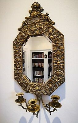Mid 19thC Repousse Brass Girondelle Bevelled Mirror with Triple Candle Sconce