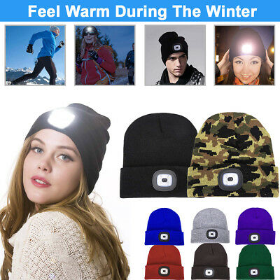 4-LED Beanie Lighted Cap Winter Warm Flashlight Style Hunting Camping Hat HOT BH