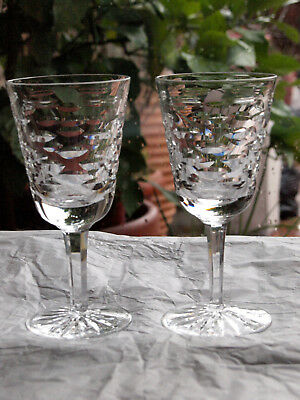 Waterford Crystal Tralee White Wine Glass Pair Vintage Made in Ireland