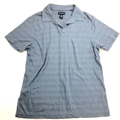 Banana Republic Mens Shirt Sz L Polo Blue Tonal Stripe Short Sleeve 100% Cotton