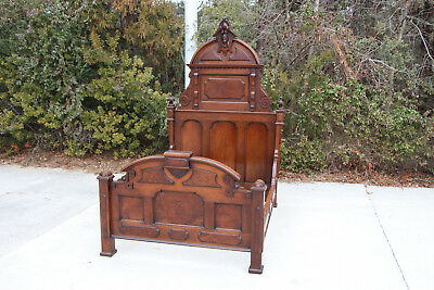 Magnificent Burl Walnut Victorian High Back Bed with Ansonia Head Crown ~Ca.1870