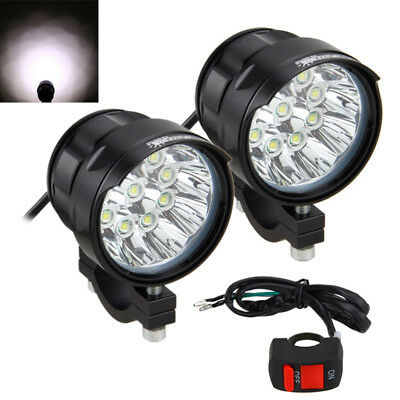 1Pair 90W 9000LM 9x XM-L T6 LED Motorcycle Work Light Headlight 5 Modes+Switch