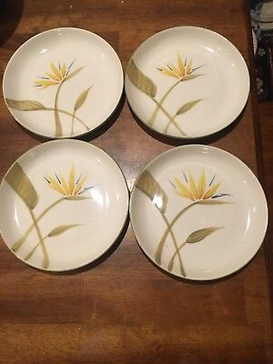 """Vintage Winfield Bird of Paradise Salad Plate 7-1/2"""" Hand Crafted CA Set of 4 EC"""