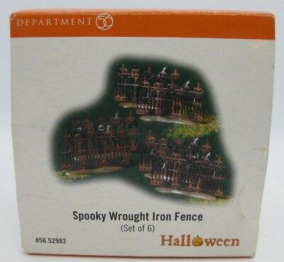 Department 56 Halloween Spooky Wrought Iron Fence (Set of 6) Brand NEW