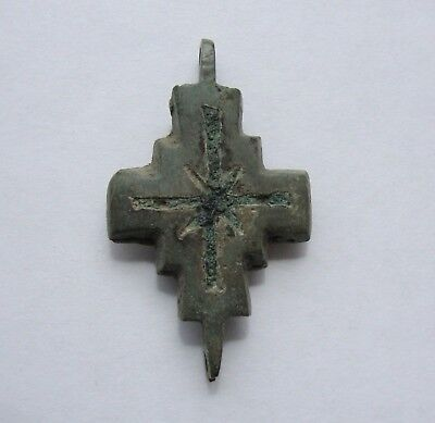 small brass Enkolpion enamel reliquary cross orthodox pendant antique talisman