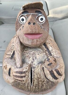 Hand Carved Coconut Man with Hat and Glasses