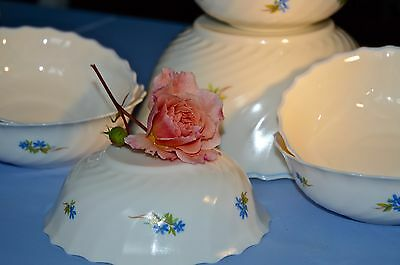 VINTAGE ARCOPAL FRANCE 'Caracas Feston' Blue Forget-Me not Milk Glass Bowl Set