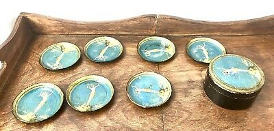 """Lot fo 7 Vintage Thick Paper Beverage 3.25"""" COASTERS With Holder"""