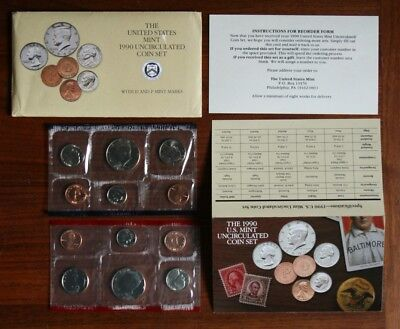 1990 US Mint Set P and D Original Envelope 10 US Coins Kennedy Half Dollar