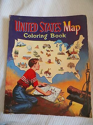 ANTIQUE RARE 1955 VERY LARGE UNITED STATES MAP COLORING BOOK. collectible